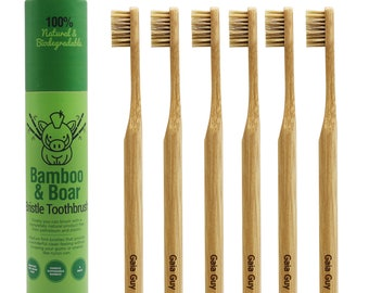 Natural Bristle Bamboo Toothbrush - Totally Biodegradable and Planet-Based 6-Pack