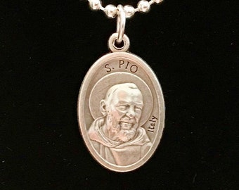 St Pio Medal on Chain