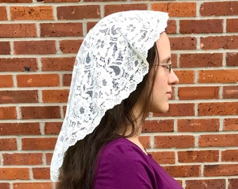 Princess Style Cream Chapel Veil - Handmade Catholic Lace Chapel Veil