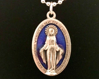 Blue Enameled Miraculous Medal