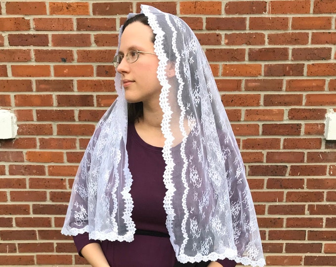 Featured listing image: Large White Chapel Veil - Perfect for First Communion Veil or Bridal Veil