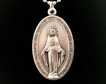 Large Latin Miraculous Medal Necklace - Large Medal Virgin Mary Pendant with Chain, Large Miraculous Medal Pendant