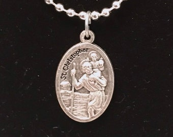 St Christopher Medal Silver Necklace