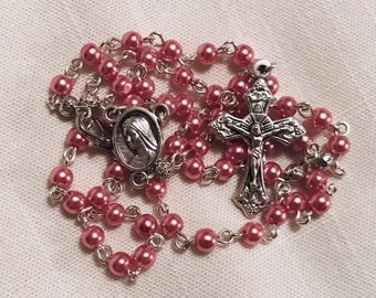 Pocket Rosary - Pearl Pink and Silver Girls Rosary, Traditional Rosary, Handmade Rosary