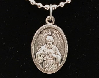 St Jude Medal Silver Necklace