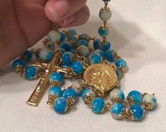 Marbled Blue Rosary - Handmade Rosary with Gold Five Wounds of Christ Centerpiece, Traditional Rosary