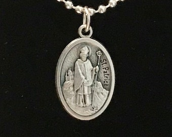 St Patrick Medal - Silver Saint Patrick Necklace, Quality Italian Medal