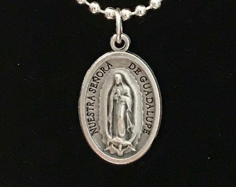 Spanish Our Lady of Guadalupe Medal Necklace