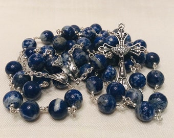 Lapis Lazuli Rosary - Real Lapis & Sterling Silver Handmade Rosary, Traditional Rosary, Quality Heirloom Rosary