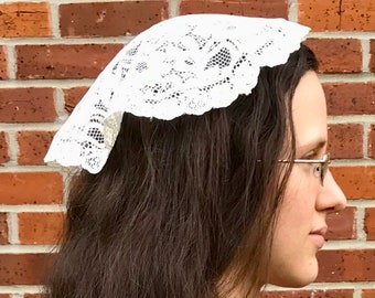 Cream Chapel Veil - Handmade Latin Mass Veil, Pinner Cap