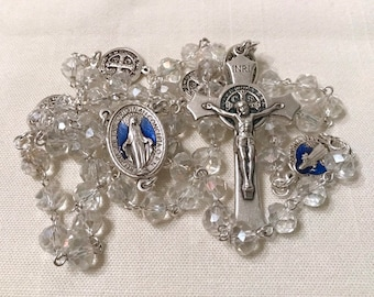 Crystal Handmade Rosary - Clear Crystal and Silver St Benedict Rosary Necklace