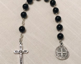 St. Benedict Decade Rosary - Silver and Black Pocket Rosary, Handmade Rosary