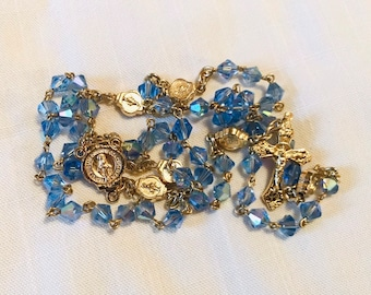 Blue Crystal Rosary - Blue and Gold Miraculous Medal Handmade Rosary