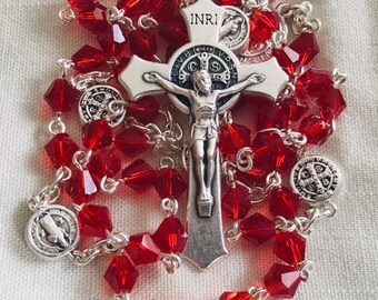 Red Rosary - Crystal and Silver St. Benedict Rosary, Handmade Rosary, Traditional Rosary