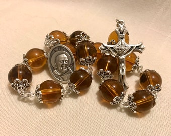 Padre St Pio Chaplet in Glass