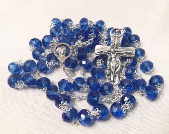 Blue Handmade Rosary - Blue Crystal Rosary with Trinity Crucifix