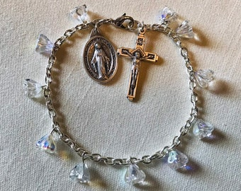 Flower Rosary Bracelet - Clear Rosary Decade with Miraculous Medal