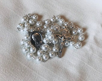 Our Lady Pocket Rosary - Glass Pearl Small Rosary, White Handmade Rosary, Traditional Rosary