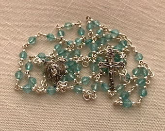 Aquamarine and Sterling Silver Rosary