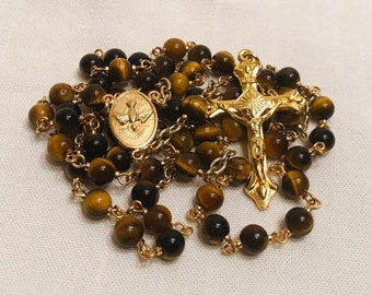 Tiger Eye Rosary Necklace with Gold Crucifix and Centerpiece - Handmade Rosary, Perfect as Ladies or Mens Rosary!