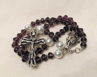 Purple Rosary - Crystal Handmade Rosary Necklace with Glass Pearls, Ladies Rosary