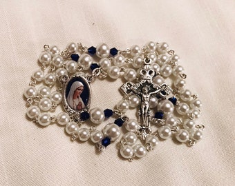 Pearl Virgin Mary Rosary - Handmade Rosary with Pearl and Blue Crystal