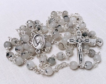 Rutilated Quartz Rosary - Handmade Rosary with Quartz Stone and Silver Crucifix