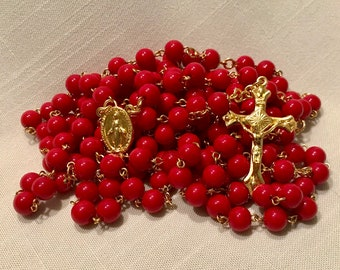 Red Fifteen Decade Rosary
