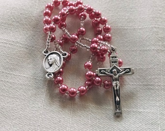 Pocket Rosary - Glass Pearl Pink Girls Rosary, Traditional Rosary, Handmade Rosary