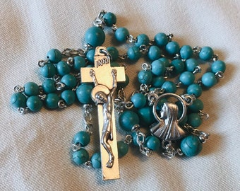 Turquoise Rosary - Silver and Turquoise Colored Handmade Rosary Necklace