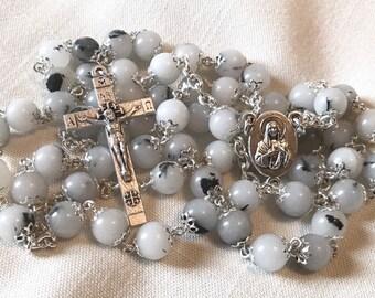 Quartz Natural Stone Rosary - Handmade Rosary with Quartz and Silver Jerusalem Crucifix