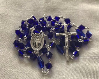 Crystal Sapphire Rosary - Miraculous Medal Traditional Rosary, Handmade Rosary