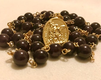 Garnet and Gold St Michael Chaplet