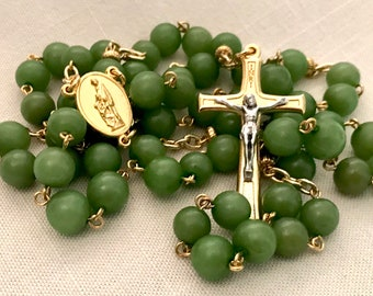 Gold and Green Buri Bead Rosary