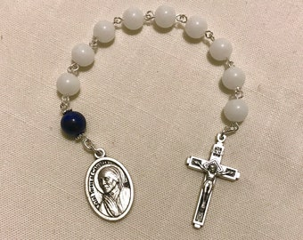 St Teresa of Calcutta Emergency Novena Chaplet - with Opaque White Beads