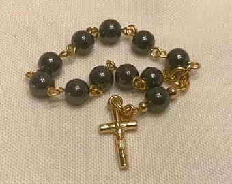 Hematite Decade Pocket Rosary