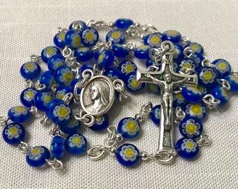 Blue Millefiori Rosary