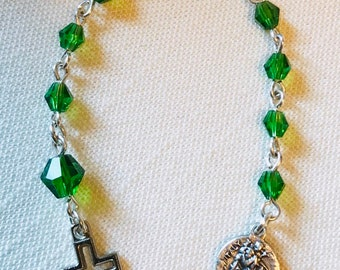 Green Pocket Rosary - Green Rosary Decade with St Christopher Medal