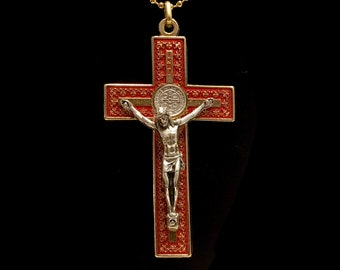 Large Red Enameled Two Tone Cross of St Benedict