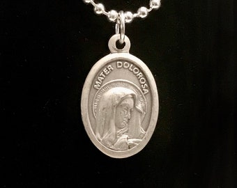 Our Lady of Sorrows with Sacred Heart Medal Necklace