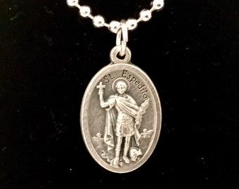 St Espedito Medal Necklace