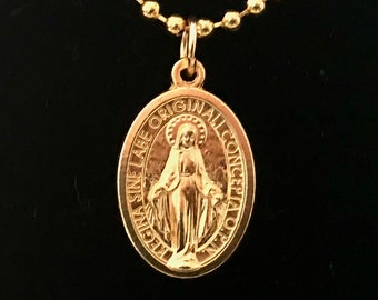 Latin Inscription Gold Miraculous Medal Necklace