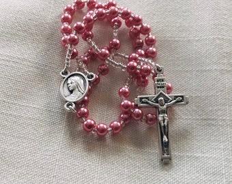 Pocket Rosary - Glass Pearl Pink Girls Rosary, Traditional Rosary, Handmade Rosary