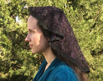 Princess Style Purple and Black Chapel Veil