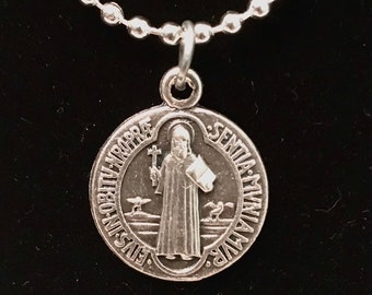 St Benedict Medal Necklace - Silver Chain with Saint Benedict Medal