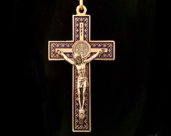 Large Enameled Two Tone Cross of St Benedict Necklace