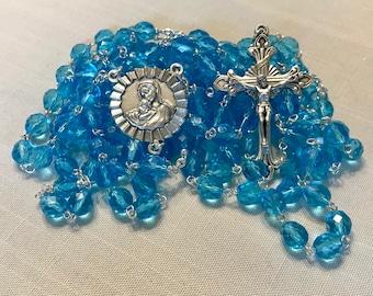 Blue Crystal Fifteen Decade Rosary
