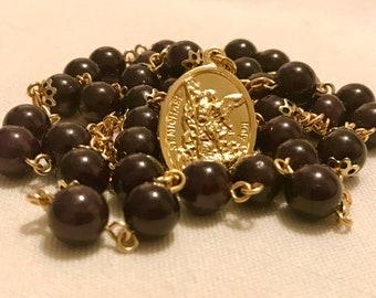 Garnet and Gold St Michael Chaplet