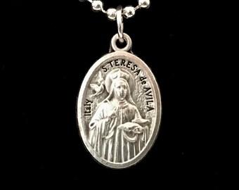 St Teresa of Avilla Medal Necklace