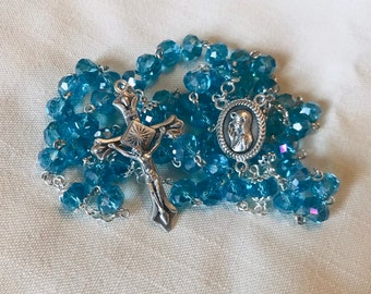 Blue Crystal Handmade Rosary - Traditional Rosary with Blessed Virgin Centerpiece, Lovely Ladies Rosary!